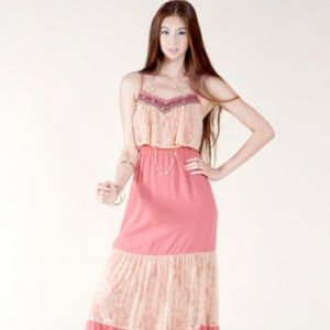 Cream lace and pink girly strap maxi dress